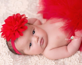 RED TUTU with Flower Headband, RedTutu, Red Baby Tutu, Christmas Tutu, Baby Christmas Tutu, Newborn Photo Prop, Newborn prop, Newborn Tutu