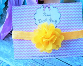 Baby girl headband,  bright yellow organza flower.   Perfect for an infant. Photo prop, hair accessory.