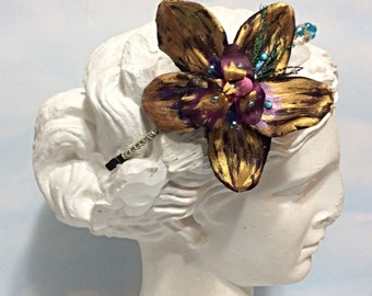 Purple gold Orchid headband, Orchid flower Headband, Purple orchid crown, orchid headpiece, gold Purple Orchid headband, boho women headband