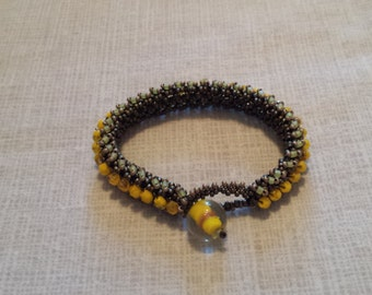 Yellow czech glass bead woven bracelet