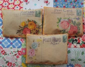 Vintage floral postcard pillows filled with lavender