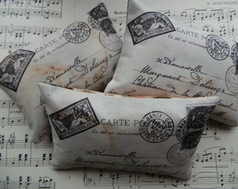 Vintage inspired French postcard lavender pillows