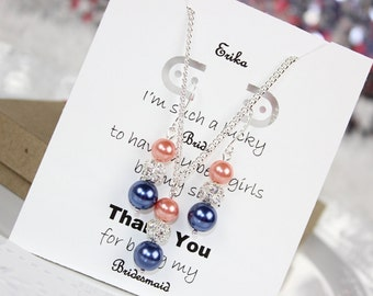 Navy Blue and Coral Bridesmaid Pearl Jewelry Set Bridesmaid Jewelry, Bridesmaid Gift, Pearl Earrings and Pearl Necklace