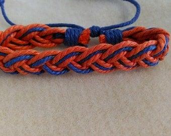 Orange and blue woven bracelet