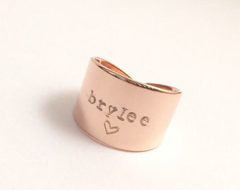 Personalized Wide Band Ring, Rose Gold, Gold, Silver, Hand Stamped Name, Name Rings, Custom Ring