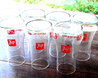 Vintage The Uncola 1970 7-UP Kitchen Patio Table Set of Seven Glass Red & Clear Serving Barware French Country Farmhouse Table Party Setting