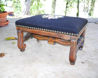 Antique 1870 Edwardian French Country Walnut Needlepoint Footstool Victorian Black Floral Tapestry Louise XV Bergere Chair Stool Carved Wood