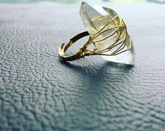 Raw Quartz cocktail ring / quartz statement ring / raw crystal ring / crystal ring / large crystal ring / large quartz ring / boho ring /