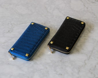 Studded Wallet Clutch - Faux Leather Croc - Blue or Black - Gold Pyramid Studs
