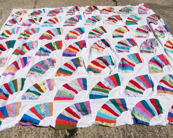 Vintage Hand Done Colorful Fan Quilt Top
