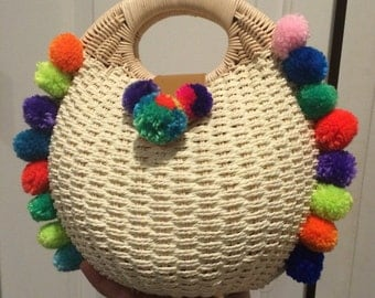 Straw summer bag with multi colored pompoms. FREE SHIPPING