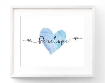 Custom Name Nursery Wall Art Print - Baby Name Wall Decor - Watercolour Heart - Bows 8x10 11x14 12x16