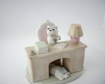Vintage Dogs at Desk Porcelain Figurine 1940s