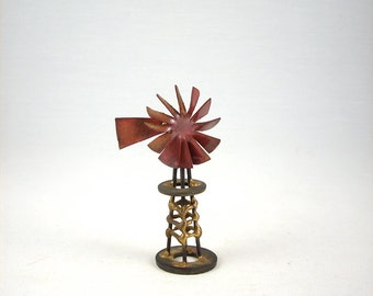 Mid Century Brutalist Windmill Metal Sculpture