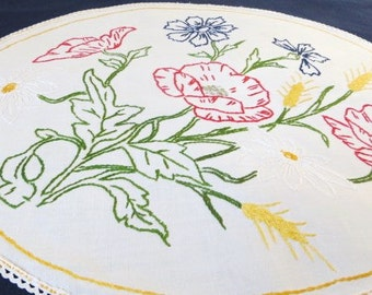 SALE French vintage oval linen doilie/doily hand embroidery WAS 32 dollars now  22 dollars/ french country style Shabby chic