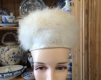 Vintage antque white feather hat 1950s bridal mad men free shipping sale