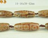 Sale---8 pcs of Tibetan Agate dZi nine eyes pattern smooth rice beads 14-16x39-42mm