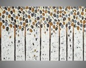 Birch Trees Art Autumn Abstract Acrylic Painting Canvas Forest Landscape Textured Brown White Grey Art Deco 72 x 24 Made to Order by ilonka