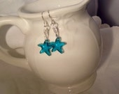 Blue Star Earrings Crystal Blue Sterling Ear wires
