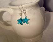 Blauen Stern Ohrringe Crystal Blue Sterling Ohr-Kabel