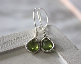 Silver Peridot Dangle Earrings - Teardrop Earrings  - Hand Wire Wrapped - Gemstone Jewelry