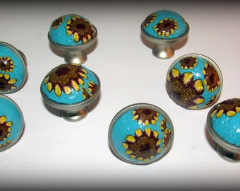 Knobs, Cabinet Knobs, Drawer Knobs, Dresser knobs, Clay Knobs, Turquoise with flower knobs, Unique Knobs, Flower Knobs, Sunflower Knobs