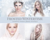 """Winter photo overlays """"Frosted Wintertime"""",  frost, falling snow, light & bokeh photo overlays, winter photo overlays for Photoshop"""