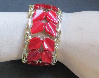 Vintage Red and Gold Thermoset Bracelet -- Signed Coro
