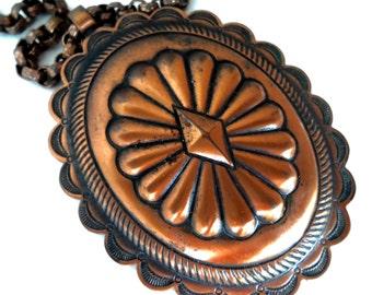 Vintage Copper Southwestern Style Large Pendant Necklace Vintage Copper Jewelry Copper Necklace Copper Pendant Boho Style