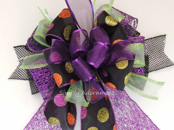 Black Purple Halloween Wreath Bow Halloween Lantern Bow Halloween Polka Dots Swag Bow Purple Halloween Party Decoration Fall Door Bow
