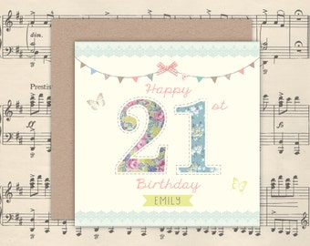 Personalised Pretty 21st Birthday Card