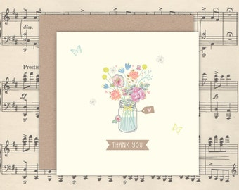 Pretty Floral Jar Get Well, Thank You, Sorry or Sympathy Card