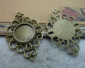 12PCS Filigree floral frame Antique bronzed tone 18mm round Bezel Cup Cabochon / Cameo Pendant Mountings wholesale- W7454