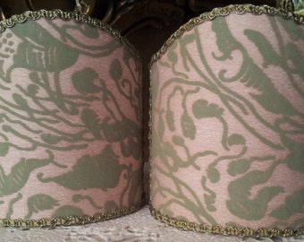 Pair of  Wall Sconce Clip-On Shield Shades Fortuny Fabric Old Rose & Celadon Leopardi Pattern Half Lampshade - Handmade in Italy