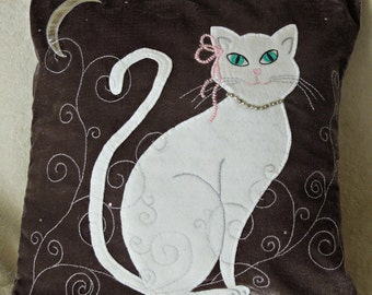 "Cat pillow, cushion cover ""Big White Cat"", appliqued, handmade, animal"