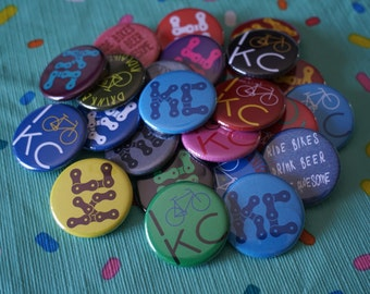 "Set of 4 - 1.25"" Bicycle Buttons or Magnets - You choose the letters!"