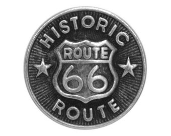 6 Route 66 Metal Buttons 9/16 inch ( 15 mm )