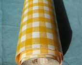 Vintage 1970s Contact Paper | Yellow and White Gingham Plaid Pattern | Shelf Liner | By-the-yard