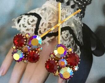Decorative Hair Pins Bridal Jewelry Vintage 1950's Red Ruby Weiss AB Aurora Borealis Rhinestone Bobby Hairpins