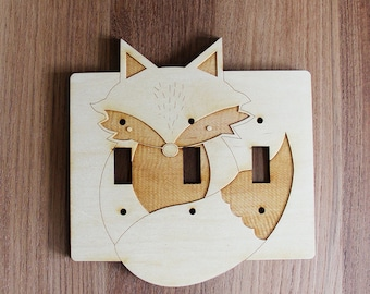 Wood Laser Cut Fox Light Switch Plate / Cover (3 toggle switch)