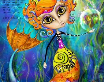 """Title: """"Breathe In"""". Inspirational and colorful Giclee Art Print."""