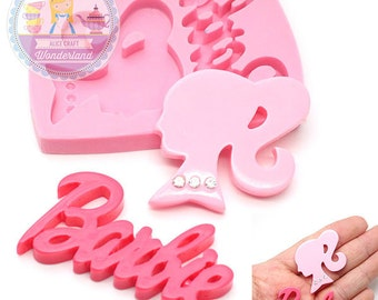 Barbie Portrait and Letter Flexible Soft Mold 728m* Liquid Resin Fondant Royal icing Chocolate Gumpaste Candy FIMO Polymer Clay BEST QUALITY