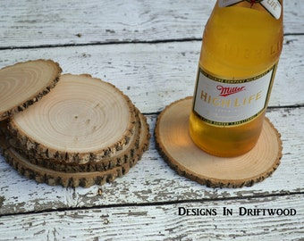 300 Rustic Coasters - Approx. 3.5 - 4 Inches - Great for Gifts - Wedding Coasters - Wholesale Coasters - Tree Slices - Natural Wood Coasters