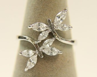 Dragonfly Ring, Butterfly Ring, Women's Dress Ring Double Dragonfly Wrap-around 024 Rhodium Plated LT GUARANTEE, size 9 rings, ring hand