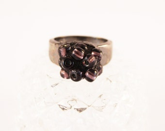 Blackberry Ring, Cluster Ring, Grape Cluster Ring, Bead Ring, Purple Glass Bead Ring, Girl's Purple Ring, US Size 6 Ring