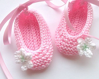 Baby Ballet Shoes UK. Candy pink Baby Ballet Shoes with pink satin ribbon tie. Newborn Baby Slippers UK. Baby Shower Gift UK. Baby Girl.