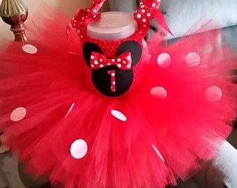 Red and Black Minnie Mouse Costume Flower Girl Tutu Dress