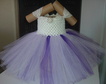 Lavender, Purple and White Flower Girl Tutu Dress With Ivory Lace Straps