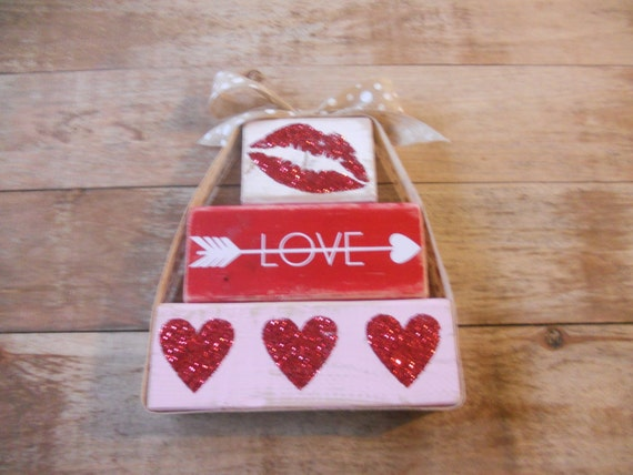 READY TO SHIP valentines stacked blocks