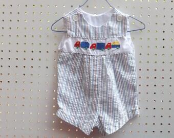 Baby Boys Clothes, Boys Seersucker Train Romper Jumper, Vintage Romper, Stripes, Classic, Baby Clothes, Vintage Kids Clothes